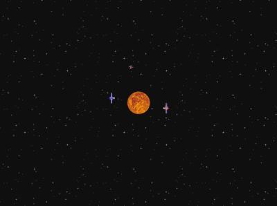 На знімку показаний екран гри KSpaceDuel — наступниці першої в світі гри Spacewar!