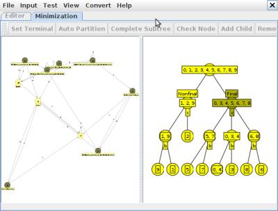 JFLAP - мінімізація в процесі