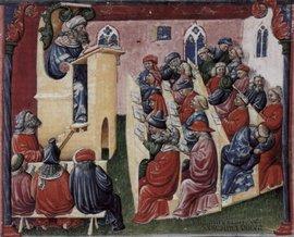 Середньовічний університет. Зауважте чим зайняті люди в рядах дальше другого.